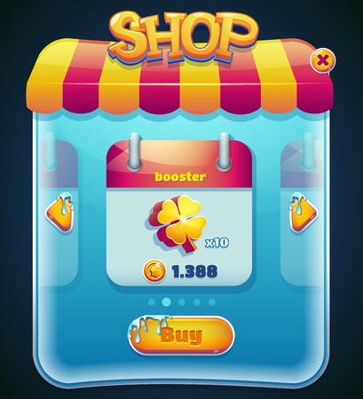 user: Form designed game user interface GUI for video games, computers or smartphones. Shop window. illustration.