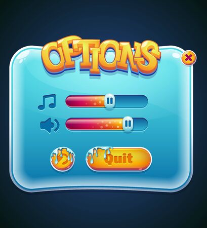 interface: Form designed game user interface GUI for video games, computers or smartphones. Options select window. illustration. Illustration