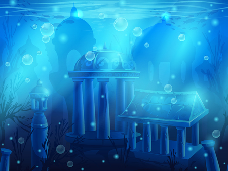 Atlantis. Seamless submerged underwater city, the ancient ruins of eastern. For newspapers, magazines, web design, websites, printing, video or web game. Vectores