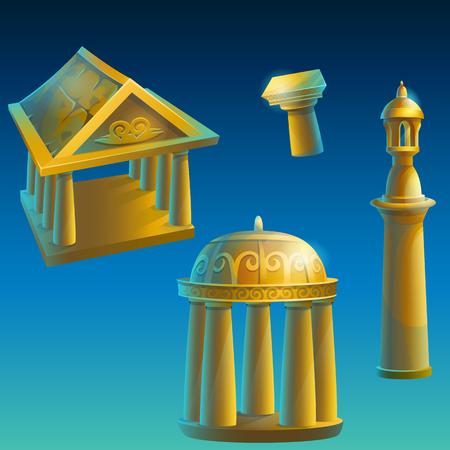 minaret: Set of gold ancient ruined buildings - Corinthian column, Ionic columns, gazebo under the dome, minaret.