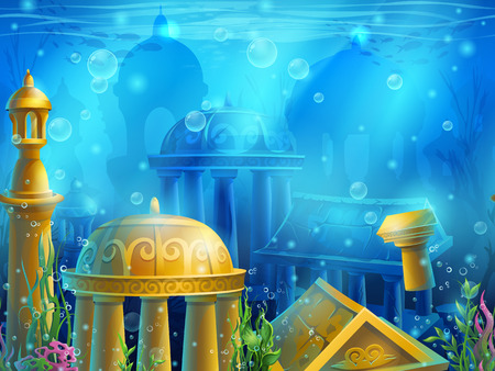 submerged: Atlantis. Seamless submerged underwater city, the gold ancient ruins of eastern. For newspapers, magazines, web design, websites, printing, video or web game.