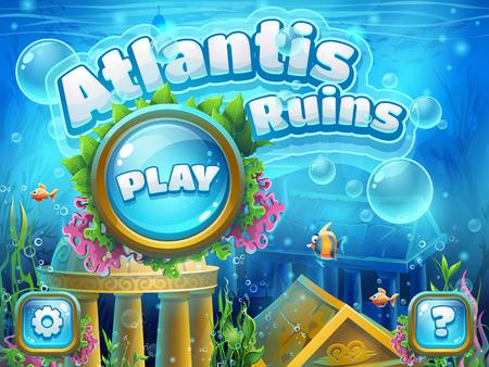 Atlantis ruiny - ilustracja ekranu startowego do gry komputerowej. Jasne tło do tworzenia oryginalnych gier wideo lub internetowych, projektowania graficznego, wygaszaczy ekranu.
