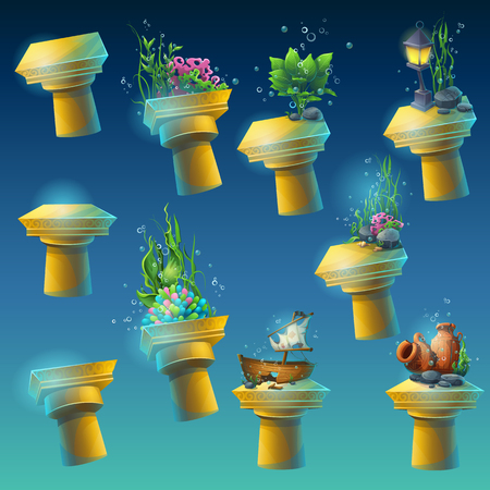sunken: Big set of antique columns with different elements of the algae, corals, sunken ship, amphora, lantern, flowers. To create original video or web games, graphic design, screen savers. Illustration
