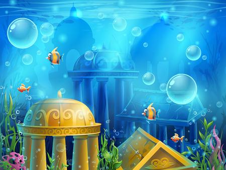 Atlantis ruiny - Ilustracja tła ekranu w grze komputerowej. Jasny obraz tła do tworzenia oryginalnych filmów lub gier internetowych, projektowanie graficzne, wygaszacze ekranu.