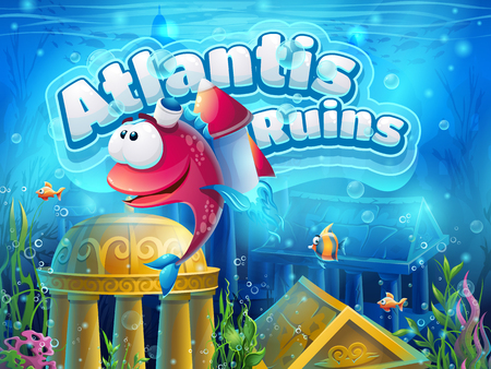savers: Atlantis ruins funny fish - illustration boot screen to the computer game. Bright background image to create original video or web games, graphic design, screen savers.