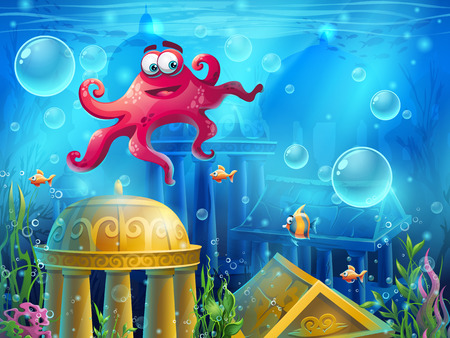 ruins: Atlantis ruins cartoon octopus - background  illustration screen to the computer game. Bright background image to create original video or web games, graphic design, screen savers.