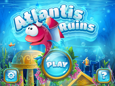 Atlantis ruins with fish rocket - illustration boot screen to the computer game. Bright background image to create original video or web games, graphic design, screen savers.