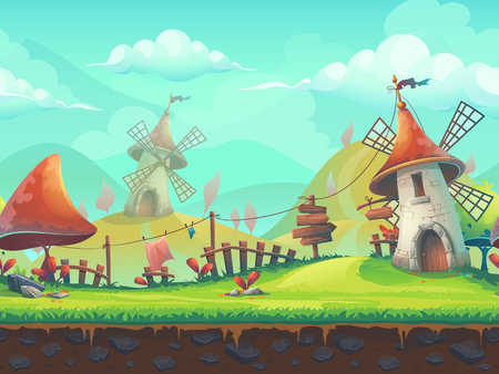 Seamless cartoon stylized illustration on the theme of the European landscape with a windmill. For print, create videos or web graphic design, user interface, card, poster.