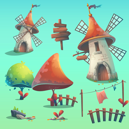 hedge: Set of isolated elements - windmill, hedge, fence, paling, tree, flower, rocks, rope, stick, lingerie, grass, pointer, sign. Print, create videos, or web graphic design, user interface, postcards, posters, websites. Illustration