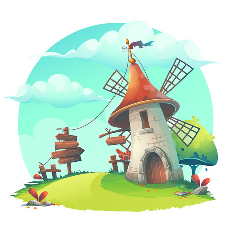 grassland: cartoon illustration - background with a windmill, hedge, fence, paling, tree, flower, rocks, rope, stick, lingerie, grass. Illustration