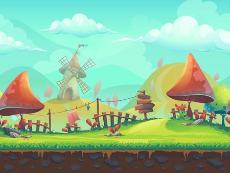 Naadloze cartoon gestileerde illustratie over het thema van het Europese landschap met een bomen. Voor afdrukken, maak video's of web grafisch ontwerp, gebruikersinterface, kaart, poster.