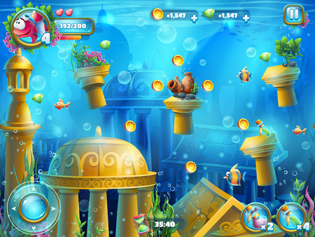 savers: Atlantis ruins playing field - illustration screen to the computer game. Bright background image to create original video or web games, graphic design, screen savers.