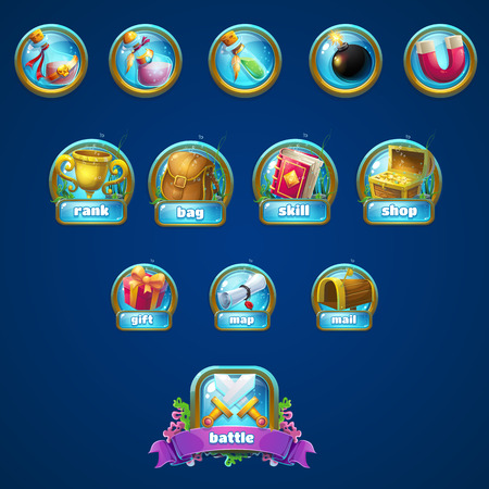 screen savers: Set of different buttons, boosters. Vector background  illustration screen to the computer game. Bright background image to create original video or web games, graphic design, screen savers.