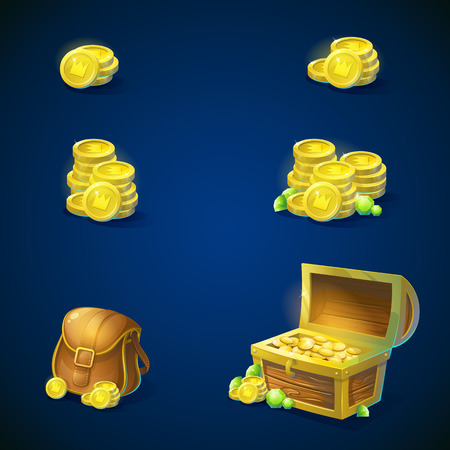 money bags: Set of objects - stack of gold coins, open chest with gold coins, shiny green emeralds, leather inventory bag. illustration.