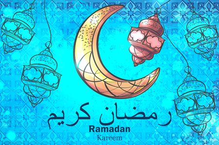 conception colorée est ornée d'un croissant de lune lampes suspendues sur le fond de création pour célébrer la fête du Ramadan Kareem