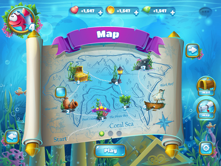 interface: Atlantis ruins playing field - illustration level map screen to the computer game user interface. Background image to create original video or web games, graphic design, screen savers.