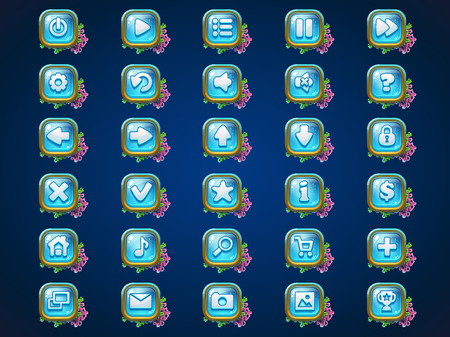 remote lock: Set buttons on Atlantis riuns game user interface background  for web video game