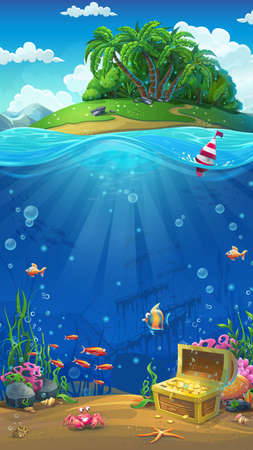 inhabitants: Undersea world with island mobile format. Marine life landscape - the ocean and the underwater world with different inhabitants. For design websites and mobile phones, printing.