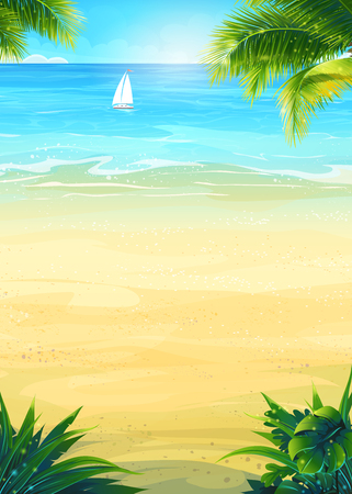 Background summer vacation with sun, sea, sky, palm trees, beach, boat. Creative design for print summer cards, invitations, brochures, posters.