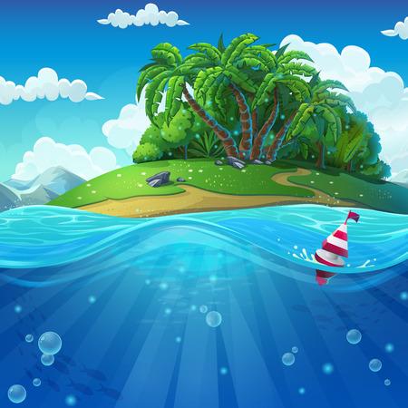 Podmorski świat z wyspą. Morski krajobraz życia - ocean i podwodny świat z różnymi mieszkańcami. Do projektowania stron internetowych i telefonów komórkowych, drukowania.
