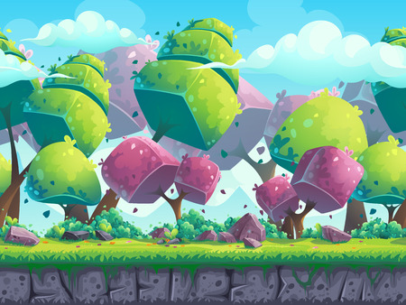 Seamless cartoon natural landscape with futuristic trees
