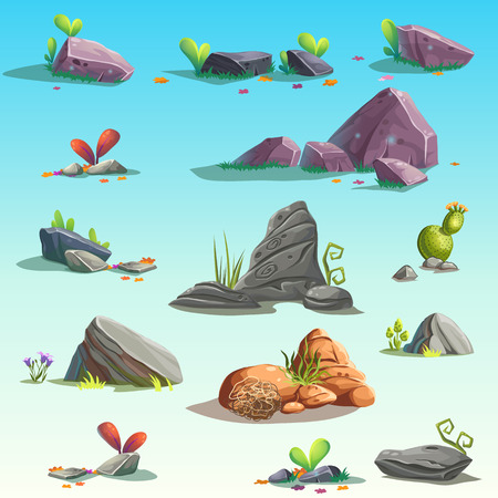 boulders: Set of isolated stones, boulders Illustration