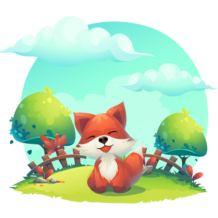 Fox in the grass - a childrens cartoon illustration - stylized image. For print, create videos or web graphic design, user interface, card, poster.