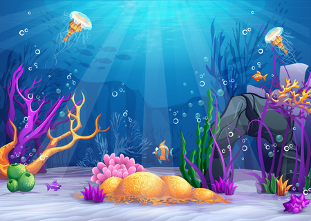 Marine Life Landscape - the ocean and underwater world with different inhabitants. For print, create videos or web graphic design, user interface, card, poster. Stock Illustratie