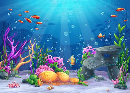 Marino Paisaje vida - el océano y el mundo bajo el agua con diferentes habitantes. Para imprimir, crear vídeos o el diseño gráfico web, interfaz de usuario, tarjeta, cartel. Ilustración de vector