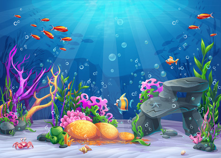 Marine Life Landscape - the ocean and underwater world with different inhabitants. For print, create videos or web graphic design, user interface, card, poster. Vectores