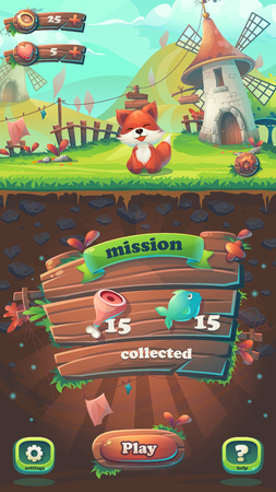 Feed the fox GUI - cartoon stylized illustration mobile format mission collected window. For print, create videos or web graphic design, game user interface, card, poster.