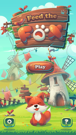 Feed the fox GUI - cartoon stylized illustration mobile format window with play, options buttons. For print, create videos or web graphic design, user interface, card, poster.