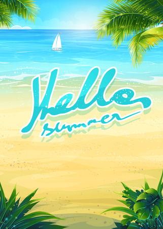 Creative design background summer vacation with sun, sea, sky, palm trees, beach, boat.