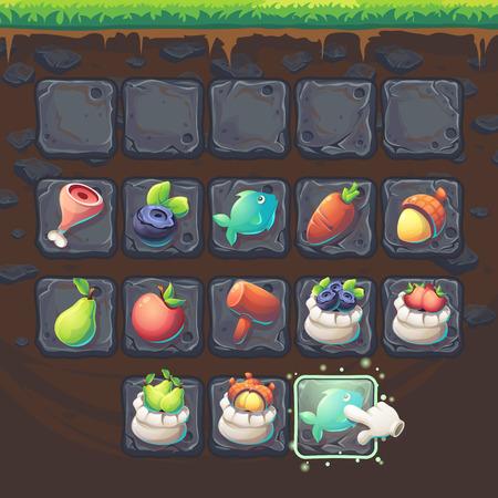 finger fish: Feed the fox GUI match 3 game items - cartoon stylized illustration window.