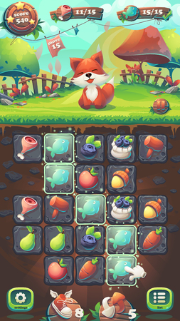 Feed the fox GUI playing field match 3 - cartoon stylized illustration mobile format window with options buttons, game items.
