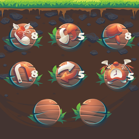 wooden shoes: Feed the fox GUI match 3 game user interface boosters - cartoon stylized illustration window.