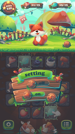 menu land: Feed the fox GUI match 3 volume options - cartoon stylized illustration mobile format window with options buttons, game items.