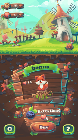 menu land: Feed the fox GUI match 3 buy window - cartoon stylized illustration mobile format  with options buttons, game items. Illustration