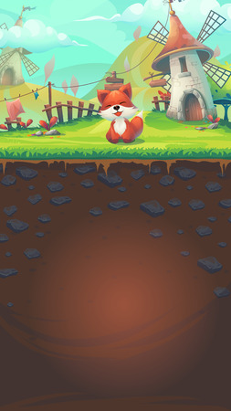 grass land: Feed the fox GUI match 3 window template - cartoon stylized illustration mobile format