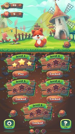 menu land: Feed the fox GUI match 3 level map window - cartoon stylized illustration mobile format  with options buttons, game items. Illustration