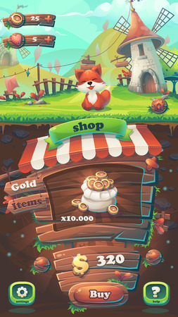 Feed the fox GUI match 3 shop window - cartoon stylized illustration mobile format  with options buttons, game items. 일러스트