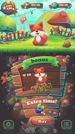 menu land: Feed the fox GUI match 3 bonus window - cartoon stylized illustration mobile format  with options buttons, game items.