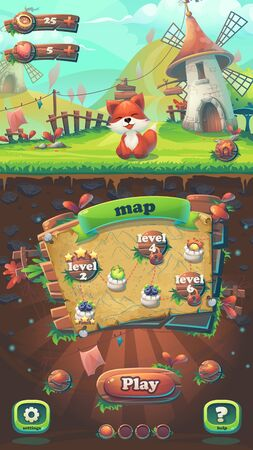 menu land: Feed the fox GUI match 3 map window - cartoon stylized  illustration mobile format  with options buttons, game items.