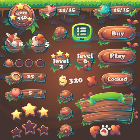 wooden shoes: Set items of Feed the fox GUI match 3 for web video game