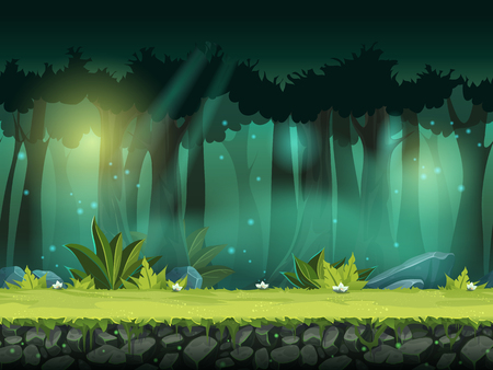 horizontal seamless illustration of forest in a magical mist Stock Illustratie