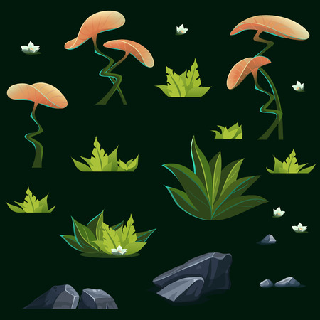 white lily: Set of different isolated elements - mysterious orange flowers, delicate white lily, gray stones, bushes green fern Illustration