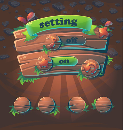 Wooden style game user interface window setting