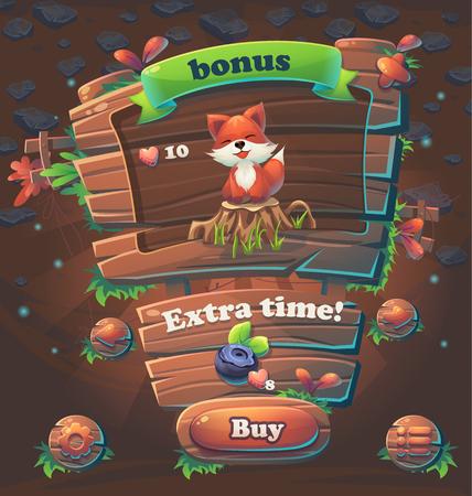 Wooden game user interface bonus window illustration Çizim