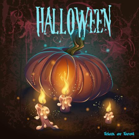 Halloween illustration with candles, pumkin, flame