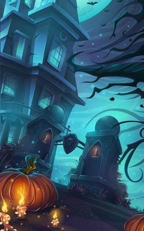 horrible: cartoon illustration - background horrible Halloween wall